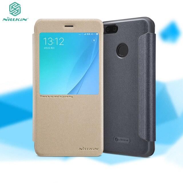 best website 5bc22 20783 US $8.32 26% OFF|Xiaomi Mi A2 Flip Case MiA2 Mi6x Mi 6x Auto Sleep Smart  Cover Nillkin Sparkle PU Leather Case for Xiaomi Mi A1 Mi 5X With Magnet-in  ...
