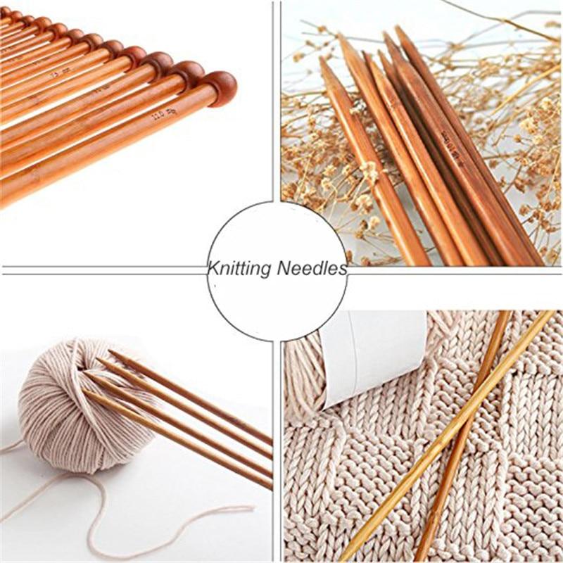 KOKNIT Bamboo Knitting Needles 36pcs Mix 2.0mm-10.0mm Single Point Yarn Weave Knitting Needle With Pink Bag and Sewing Accessory (4)