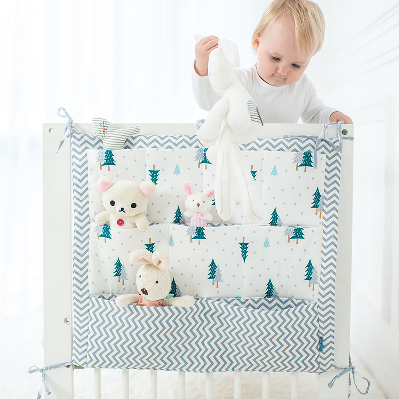 Baby Bed Hanging Storage Bag Cotton Crib Organizer For Newborn Baby Bedding Set Cartoon Pattern Baby Cot Toy Diaper Pocket