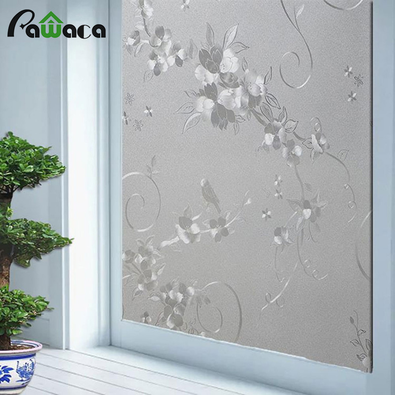3D Static Glass Window Film Privacy Decorative PVC Removable Elegant Glass Door Flower Window Film Sticker for bathroom 200*45CM