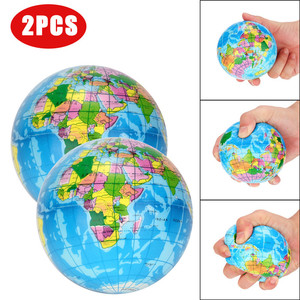 2PCS Stress Relief World Map Jumbo Ball Atlas Globe Palm Ball Planet Earth Ball Toy outdoor balls gift for kid A1(China)