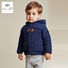 DB2687 дэйв белла осень зима мальчик свитер детские одежда Toddle топы мальчики мягкие свитера с капюшоном