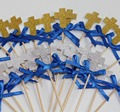 Customize Girls Boys Christening Decorations Baptism Cross Cupcake Toppers 16 CT holy communion confirmation celebration