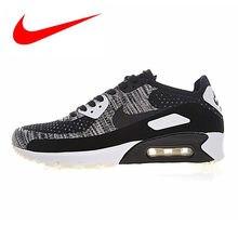 fe009f87 Nike Air Max 90 Ultra 2,0 Flyknit Мужская обувь для бега, нескользящая,  армейский зеленый/темно-серый, дышащая 875943-001 875943.