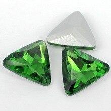 Зеленый цвет Треугольники Кристалл указал назад Стекло Необычные Камень beads.10mm 12 мм 18 мм 23 мм