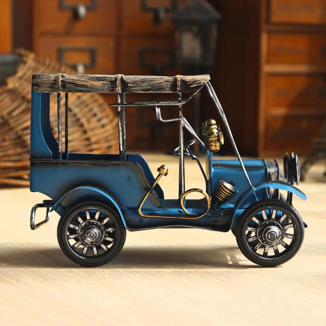Retro Colorful Metal Car Figurine