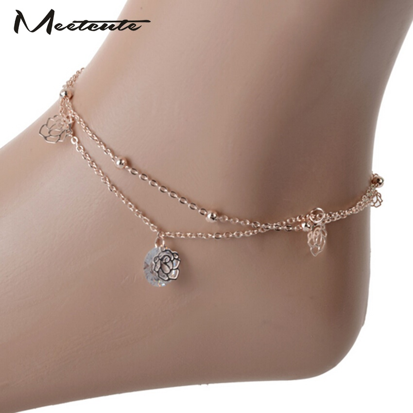 Meetcute Anklet Bracelet On The Leg Hollow Roses Gollow Beads Zircon Multi-Layer Double-Layer Anklets For Wome