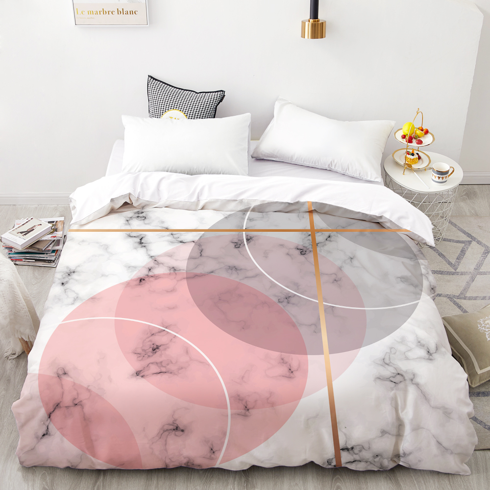 3D HD Digital Printing Custom Duvet Cover,Comforter/Quilt/Blanket Case Queen King Bedding 140x200,Bedclothes Pink Marble  White