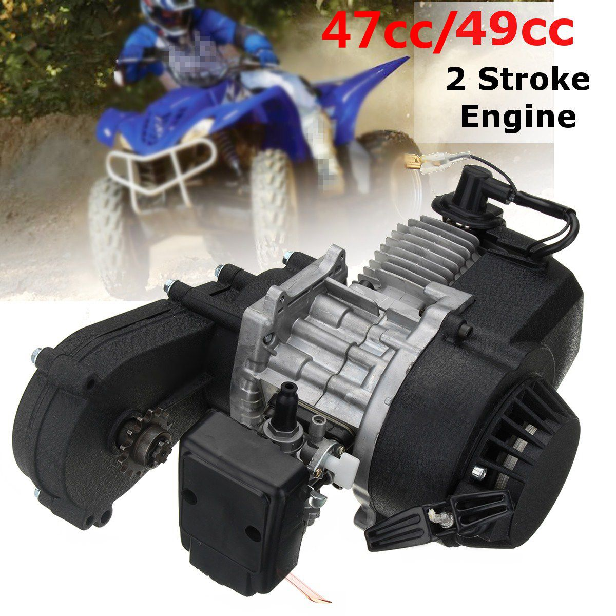 49cc /47cc Engine 2-Stroke Electric Pull Start W/Transmission for Mini Moto Quad Bike 49cc engine plastic pull e start 13mm carburetor 2 stroke 47cc 49cc plastic mini moto pocket atv quad buggy dirt pit bike