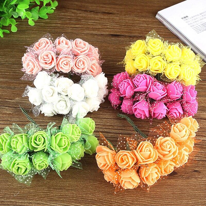 Wedding Car Decoration Diy : Artificial flowers lace foam rose bouquet wedding car diy decoration