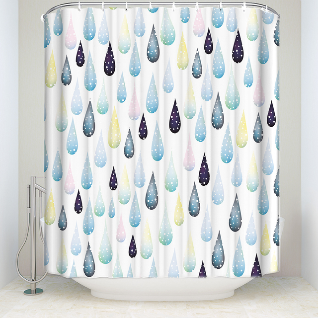 New Arrival Waterproof Watercolor Raindrops Printed Shower Curtain Polyester Fabric Bathroom Curtains For Home Decorations
