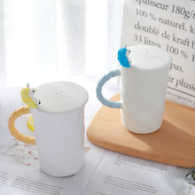 White Unicorn Mug with Lid and Spoon
