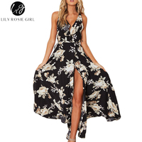 Lily Rosie Girl Boho Style Black Floral Print Women Maxi Long Dress Hollow Out Lace Up