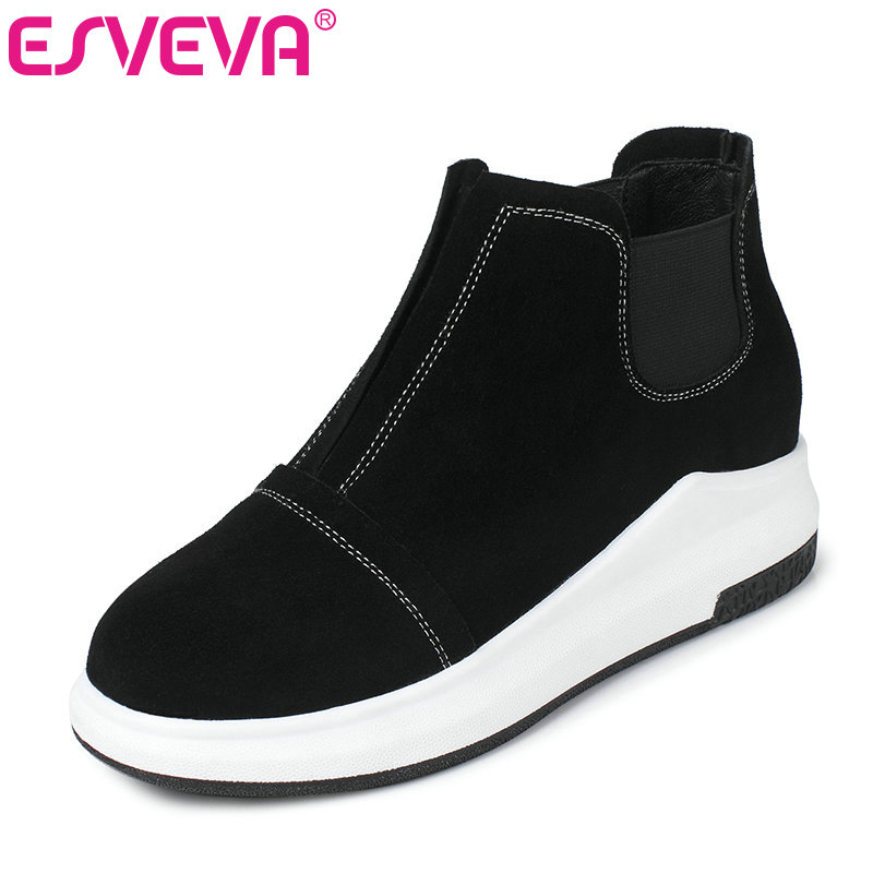 ESVEVA 2017 Casual Shoes Women wedges Med Heel Women Pumps Round Toe Spring Autumn Shoes Platform Lady Fashion Shoes Size 34-39 genuine cow leather spring shoes wedges soft outsole womens casual platform shoes high heel round toe handmade shoes for women