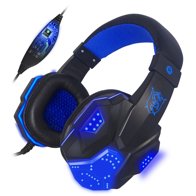 PC780 Baixo Stereo Gaming Headset Legal brilhando fones de ouvido Para Computador Portátil PC Gamer Luminoso Grande Fone De Ouvido Com Mic DIODO EMISSOR de Luz