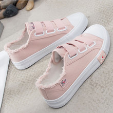 Causal shoes woman 2019 solid hook&loop women sneakers breathable canva
