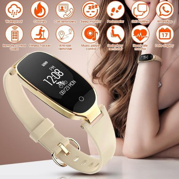 2018 New Bluetooth Waterproof Smart Bracelet S3 Smart Watch Women Band Heart Rate Monitor Tracker Smartwatch For Android IOS new fashion smart watch dial call 16g card heart rate monitor wristband for ios android bluetooth smart band women men bracelet