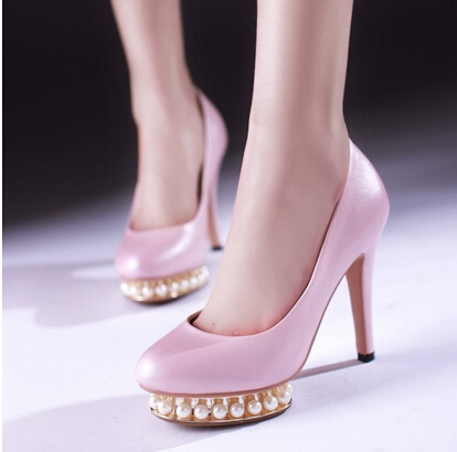 Best Selling Promotion Drop shipping Lady Fashion Pearl Beading Platform Shoes High Heel Pumps Sexy font