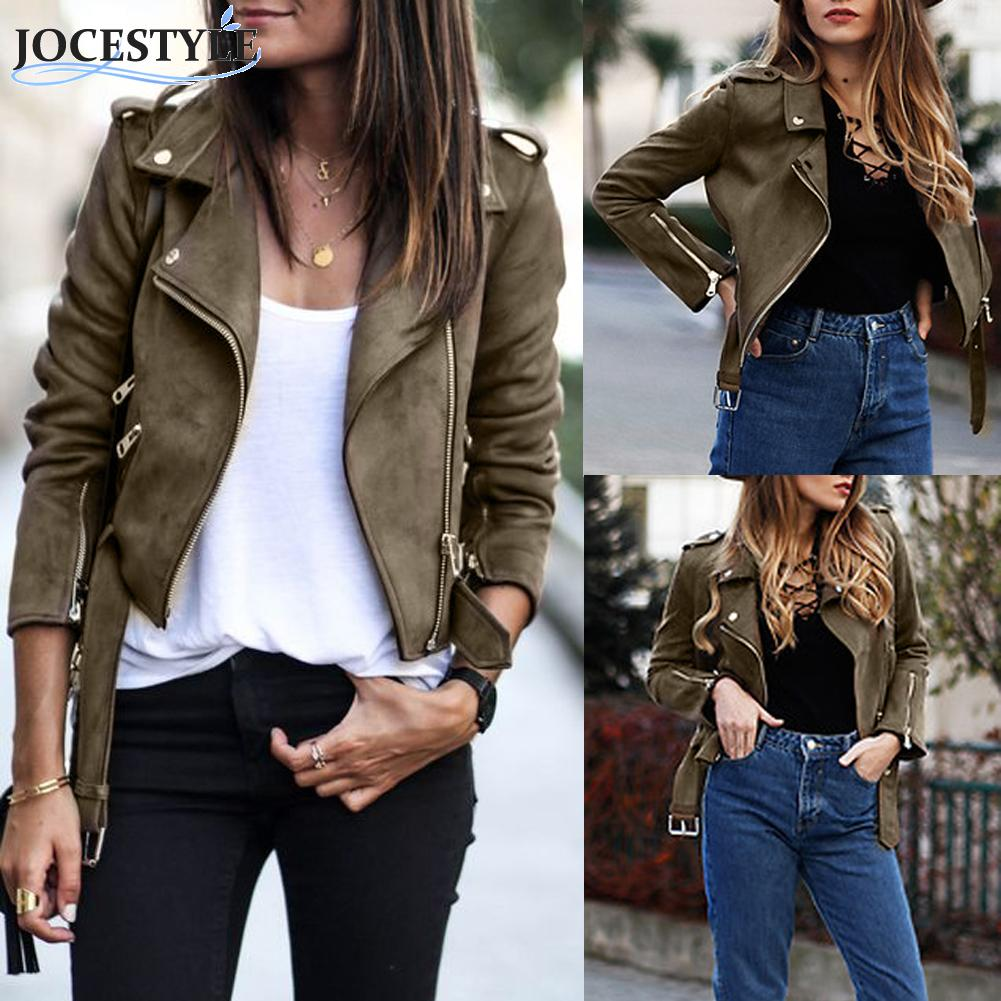Autumn Spring PU Faux Leather Women   Jacket   Tops Solid   Basic   Suede   Jackets   Ladies   Basic   Female Coat Short Motorcycle Streetwear