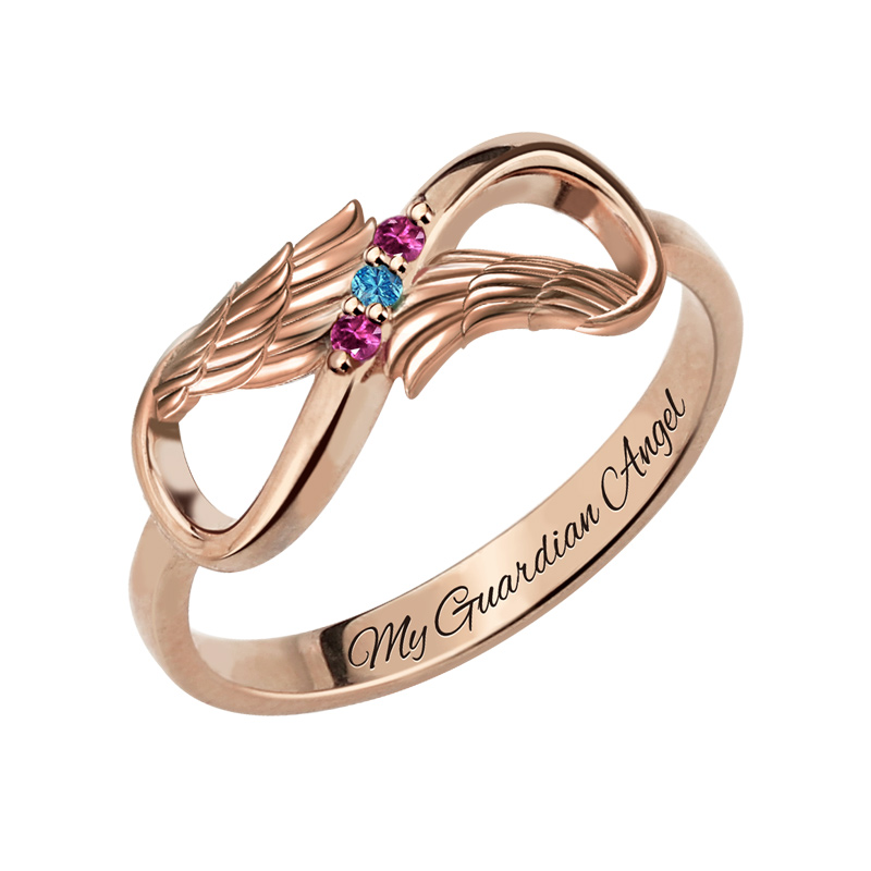 Wholesale Mothers Infinity Name Ring Rose Gold Color Angle Wings Jewelry Birthstone Name Ring Gift for HerWholesale Mothers Infinity Name Ring Rose Gold Color Angle Wings Jewelry Birthstone Name Ring Gift for Her