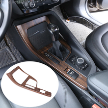 Pine Wood Grain Center Console Gear Shift Decoration Frame Cover Trim For BMW X1 F48 2016-2018 X2 F47 2018 left hand drive black ash wood car abs chrome console gear shift decoration cover trim for bmw x1 f48 2016 2018 x2 f47 2018 lhd