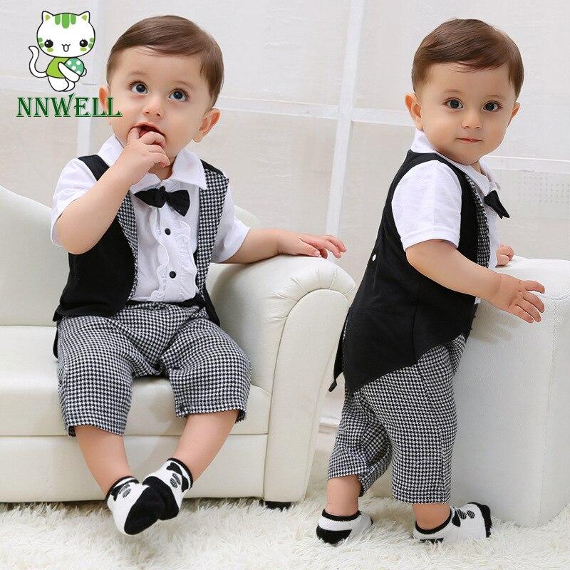 NNW Newborn Gentleman Infant Baby Boy Tuxedo T-shirt Tops+Pants Outfit Clothes Set 0-24m Black+white