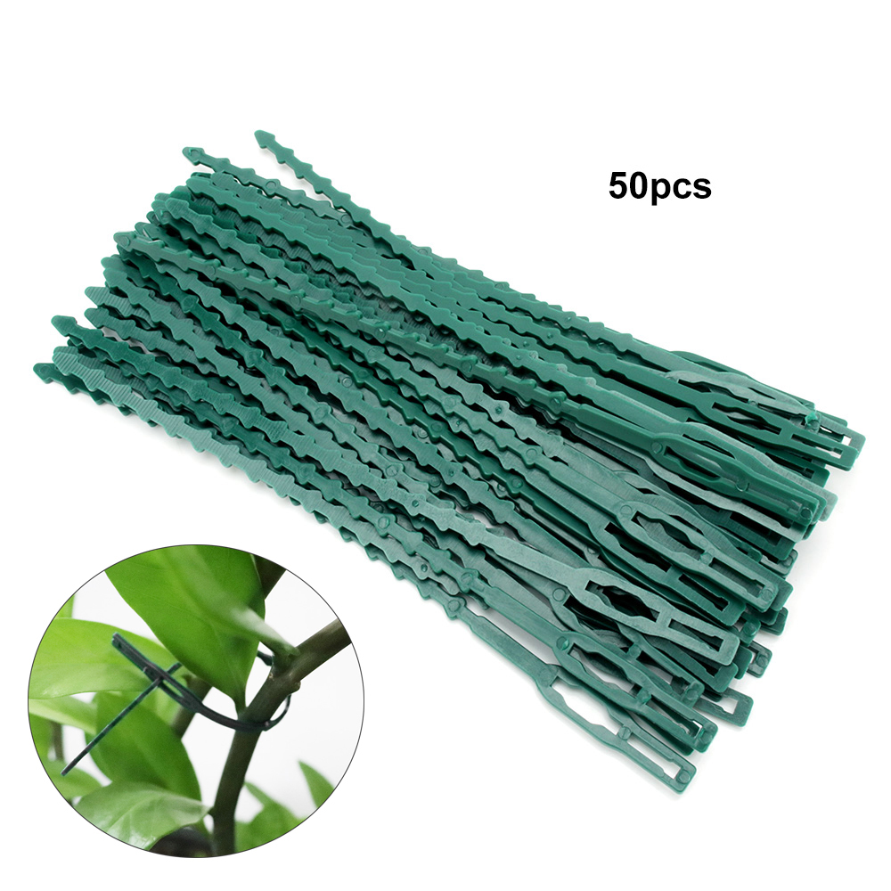 50pcs Garden Cable Ties Adjustable Plastic Plant Support Plant Vine Tomato Stem Clips Reusable Cable Ties Garden Tools