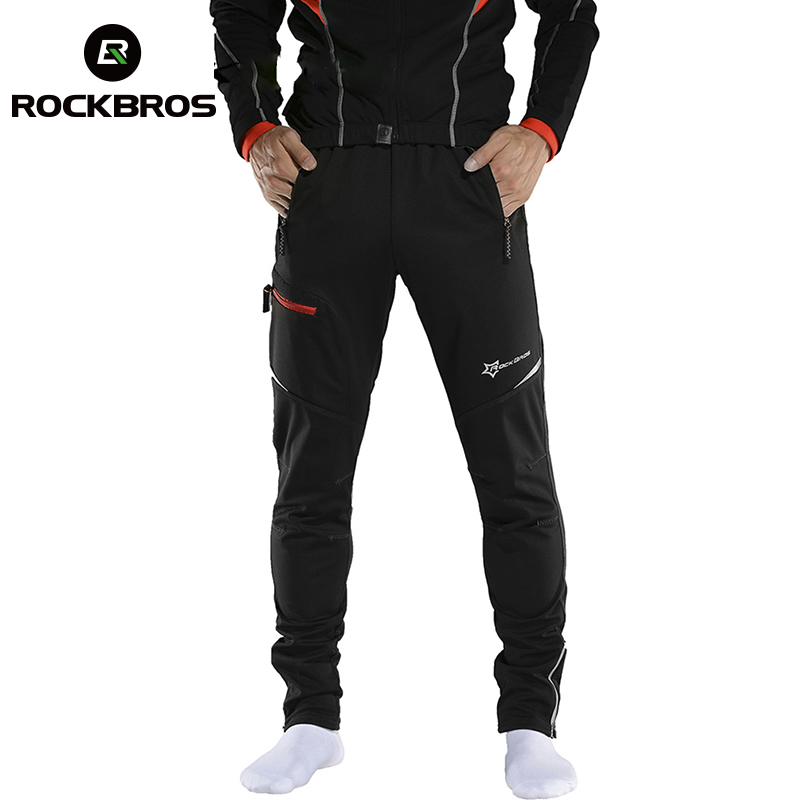 ROCKBROS MTB Pants Cycling Men Women Pants Winter Long Bike Pants Fleece Sports Running Windproof Reflect