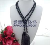 46 Black Rice Pearl Necklace CZ Pendant