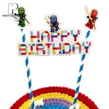 1 مجموعة ninjaguing موضوع كعكة توبر للبنين أطفال الأطفال حفلة عيد ميلاد لتقوم بها بنفسك الخبز ملحقات للتزيين