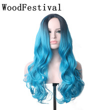 WoodFestival Heat Resistant Synthetic Wigs For Women Black Brown Blue Long Wavy Cosplay Wig ombre недорого