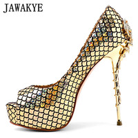 14 cm super gold meatl high heels crab Women Pumps Fish scales snake skin peep toe Stilettos bridal Wedding Shoes zapatos mujer