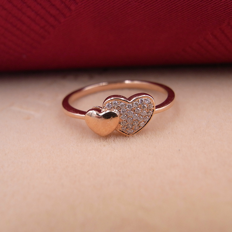 Sinya 18k Gold Diamond Ring Rose gold color love Double hearts design fashion & fine jewelry Engagement ring best gift to lover new pure au750 rose gold love ring lucky cute letter ring 1 13 1 23g hot sale