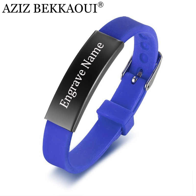 AZIZ BEKKAOUI Personalized Stainless Steel Bracelets For Women Kids Rubber ID Bracelet Men Couple Bracelets Customized Logo