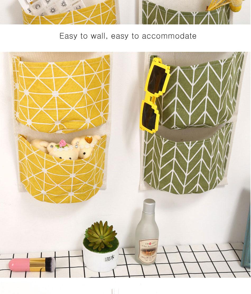 Cute Wall Sundry Cotton Line Hanging Organizer Bag Multi-layer Holder Makeup Rack Jewelry Storage Box Basket Home Decoration (5)