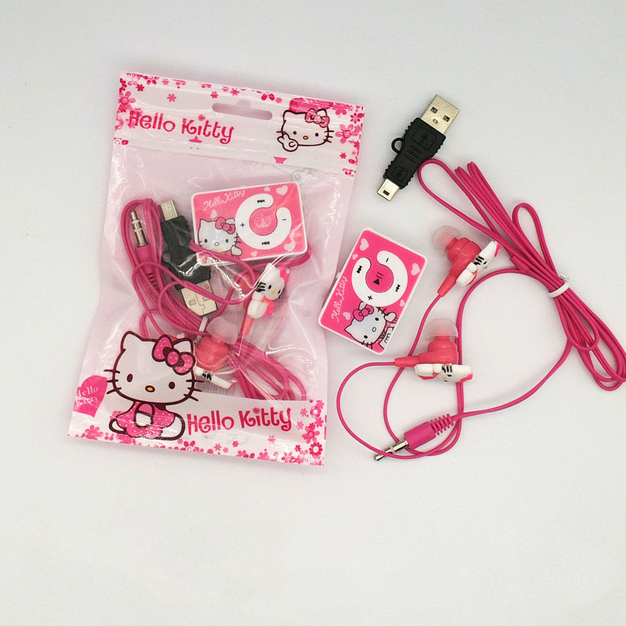 2016 fashion Hello Kitty MP3 Music Player Support Micro TF Card With Hello kiItty Earphone&Mini USB
