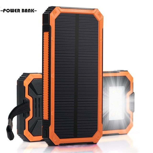 High capacity Solar Power bank Mobile Phone Power Bank Cell Portable Charger Battery External Cellphone Powerbank 20000mah