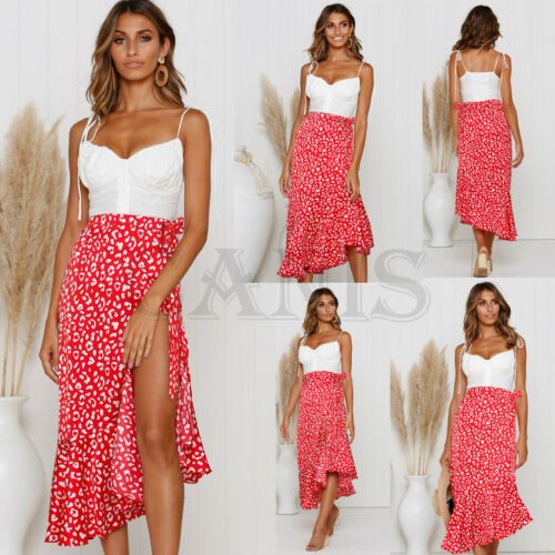 New Ladies Boho Floral Jersey Chiffon A-line One-piece Wrap Gypsy Ankle Long Maxi Split Full Summer Beach Women Sun Skirt