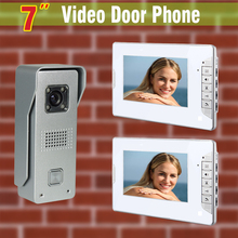 7 inch screen video door phone intercom system Video Door camera video doorbell Aluminium alloy night vision Camera 2-Monitor