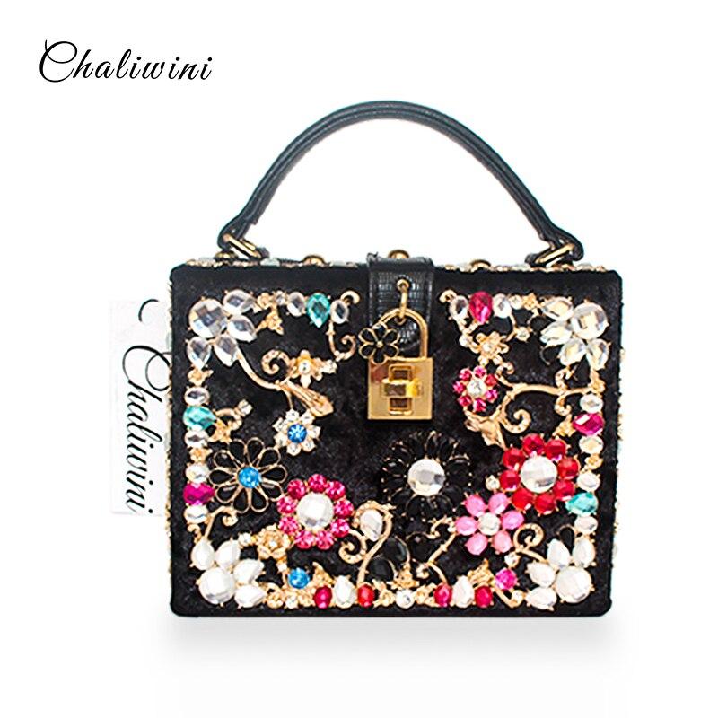 Fashion Prom Evening Bag Diamond Flower Clutch Bag Hollow Relief Velour/PU Ballot Lock Luxury Handbag Banquet Bag Party Purse