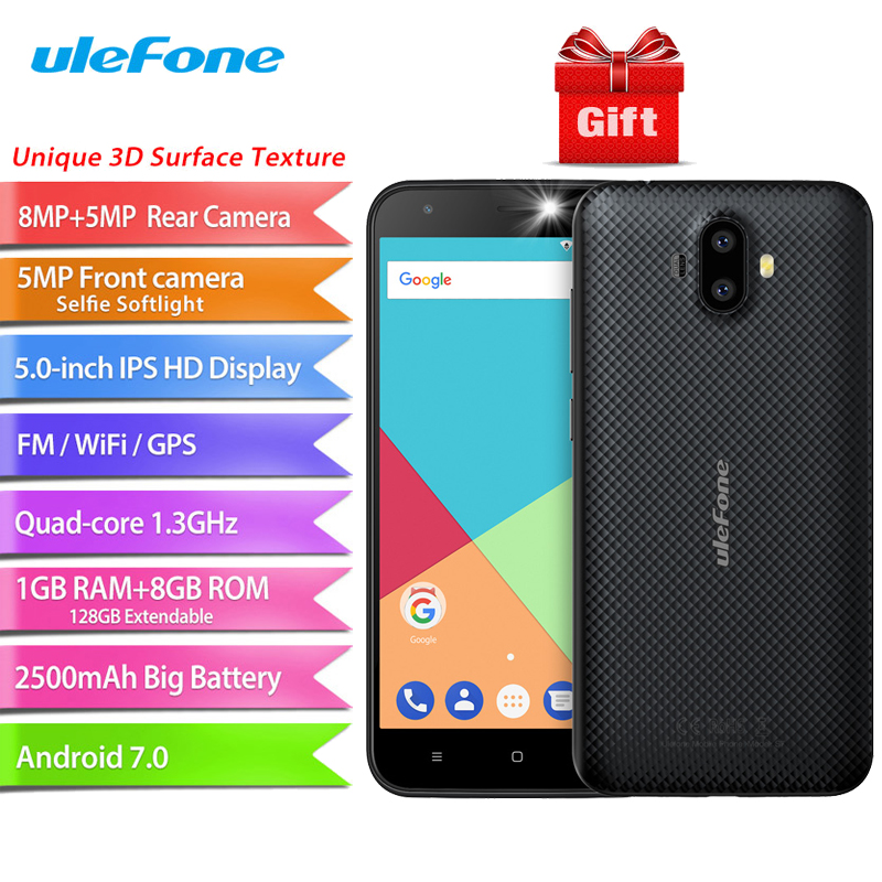 Ulefone S7 Android 7.0 5.0 inch HD MTK6580A Quad Core 8MP Dual Back Camera 1GB RAM 8GB ROM 2500mAh 3G WCDMA Mobile Phone
