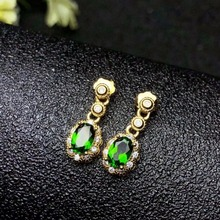 shilovem 925 sterling silver Natural diopside Stud Earrings fine Jewelry women trendy wedding  wholesale yhj050501t