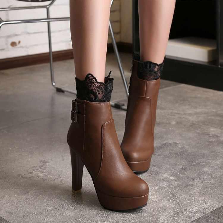 Size Lớn 11 12 13 14 Người Châu Âu Và Người Mỹ Có Đầu Tròn Và Vòng Gót Chống Nước Nền Tảng Dây Kéo Bên Hông Thắt Lưng khóa Giày