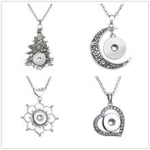 5pcs/lot Fashion Snap Necklace Pendant Women DIY Jewelry With Vintage Christmas Tree Flowers Moon Water Drops Heart Shaped Gift