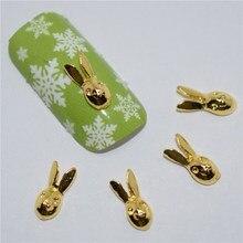 BELESHINY 10 Pcs/Lot Manicure Gold Alloy Rhinestones rabbit For Nails Strass Charms 3D Nail Art Decorations #336