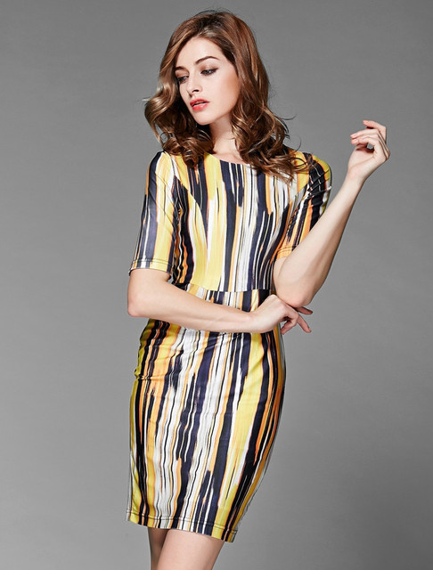 eb259b96228 2015 Summer Style Casual Elegant Slim Abstract Vertical Stripe Printed  Vestidos Bodycon Women Cocktail Office Dresses Plus Size