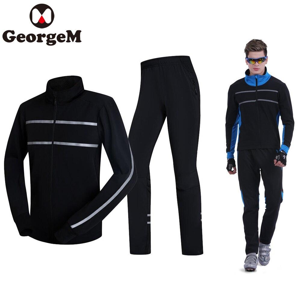 Imperméable à l'eau le Cyclisme Ensembles de Vêtements D'hiver 2019 À Manches Longues Jersey + Pantalon Hommes Cyclisme Vestes Costumes Sports de Plein Air Vélo Vêtements