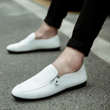 2018 мужская повседневная обувь Кожа дикие Дышащие Модные удобные туфли на плоской подошве мужские туфли DE69