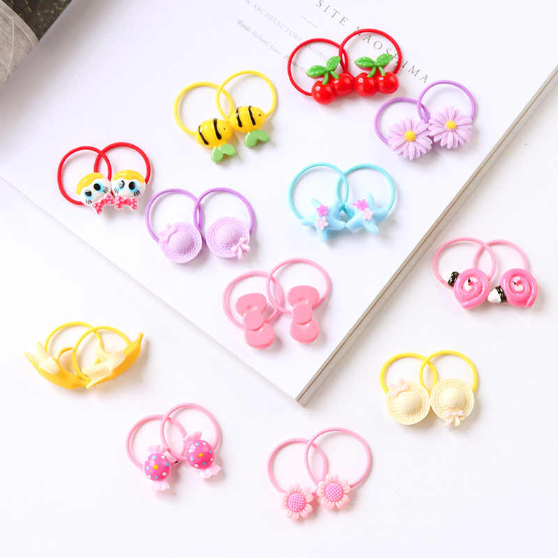 New 2PCS/Lot Girls Cartoon Elastic Hair Bands Children Ponytail Holder Rubber Band Gum For Hair Scrunchies Kids Hair Accessories