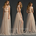 2017Charming Lace Two Piece Wedding Dress Champagne Long Beach Wedding Dresses Boho Wedding Dress BC28